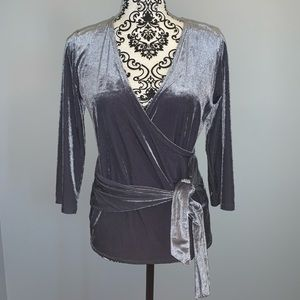 Express Ribbed Velvet Wrap Front Top